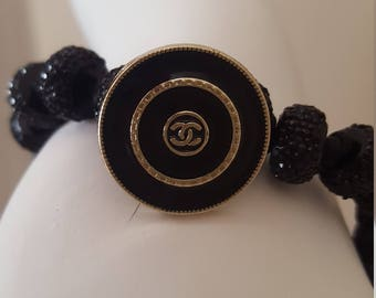 Chanel Button and Satin Cord Beaded Bracelet