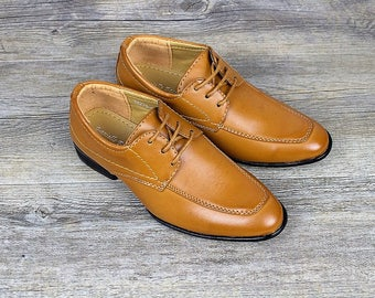 Boys Formal Wedding Tan Brown Lace Up Shoes - Wedding, Church, Formal, Communion Shoes