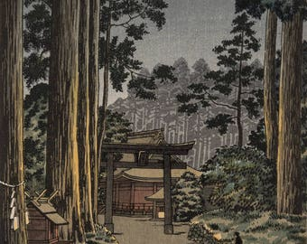 "Japanese Art Print""Nikko Futarasan Temple"" by Tsuchiya Koitsu, woodblock print reproduction, asian art, cultural art, landscape, shrine"