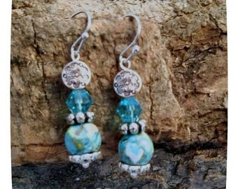 Teal Crystal Beaded Dangle Earrings Accented With Coordinating Speckled Beads