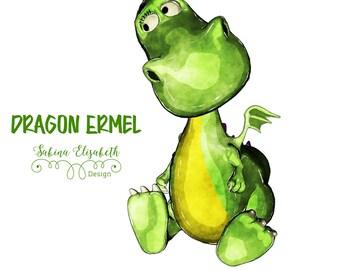 Dragon Ermel 5, bright green, Watercolor Clipart, Baby, Child, Fun, Craft