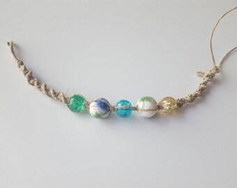 Multi Colored Floral Hemp Bracelet