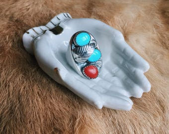 Vintage Native American Turquoise & Coral Silver Ring