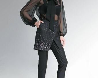 My Kind of Pearl black organza blouse