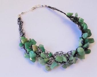 Green Aventurine handmade crochet necklace