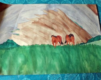Mountain Ponies Watercolor Painting