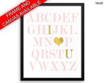 Alphabet Prints  Alphabet Canvas Wall Art Alphabet Framed Print Alphabet Wall Art Canvas Alphabet Nursery Art Alphabet Nursery Print