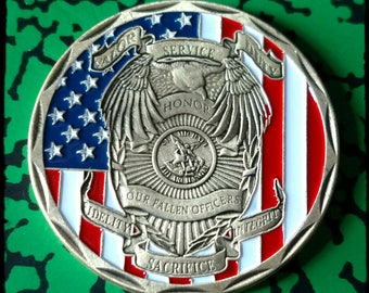 Saint Michael Archangel Police Law Enforcement Colorized Challenge Art Coin
