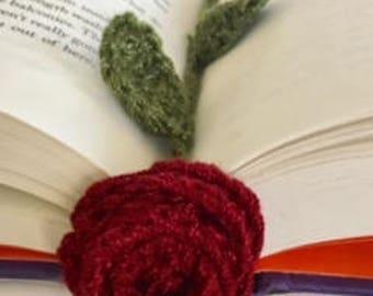 Crocheted Rose Bookmarker