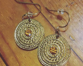 Boho Jewelry, Gift, Textured Metal, Gold Coin Dangle Earrings