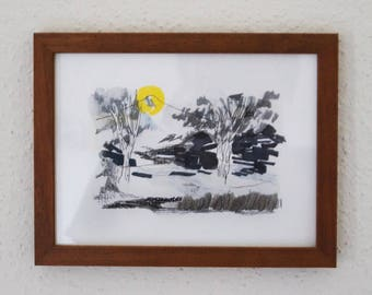 Full moon watercolor mixed media landscape with wood frame, original artwork