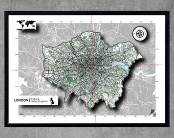London Map Poster Poster Art print Map Impression Design Cartography