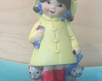 Vintage Jasco Taiwan Girl With Kittens In A Yellow Raincoat Ceramic Pomander Figurine