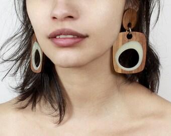 Walnut and Milky White Earrings