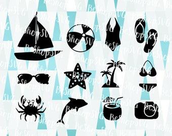 Summer Bundle SVG, Summer icons SVG, Swimsuit SVG, Beach Svg, Summer Svg, Instant download, Island Clipart, Eps - Dxf - Png - Svg