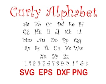 Curly font.svg,eps,dxf,png.
