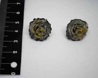 Earrings pink gray with Golden shades handmade resin pin cod. RRGR1P
