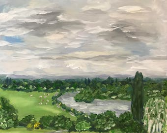 Original oil landscape painting of Richmond Hill, plein air artwork