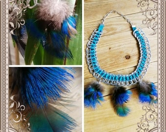 Capsules necklace tied a satin electric blue ribbon and decorated with beautiful tiny feathers of Peacock