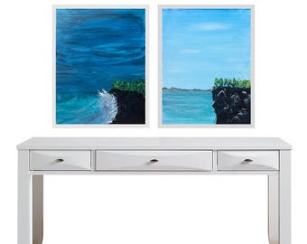 Diptych sky and sea - storm and serenity