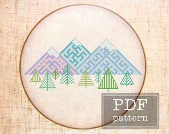 Geometric mountain Modern folk cross stitch pattern Ethnic cross stitch Nordic nursery Mountain nursery Slavic symbol Scandinavian decor PDF