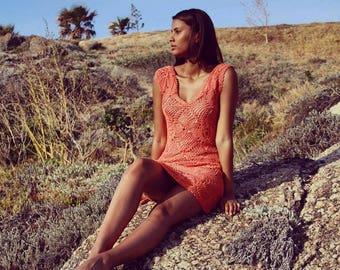Summerdress handmade coral pink