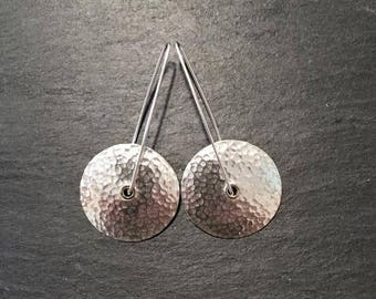 Earrings; Retro Wheels.  Contemporary, Handmade Sterling Silver