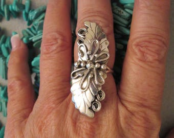 """SALE>>Rare>> Navajo Dead Pawn Solid Sterling Silver Ring> 2"""" long!! > Beautiful Applied Leaf & Rain Drop Design> Excellent condition"""