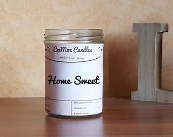 Red candle in glass 219 ml - home sweet home