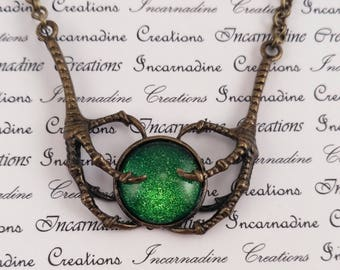 Bronze and green handpainted glass bird claws necklace