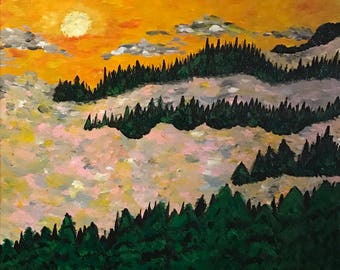 Sunset over the forest- impressionism acrylic painting