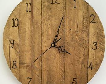 Rustic wooden clock, pallet wood clock
