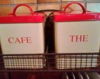 Enamel Storage Jars - vintage set of 2