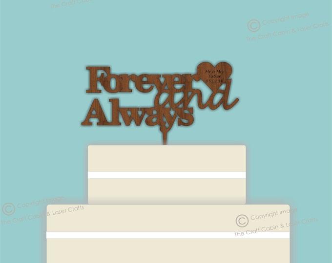 Forever & Always - Wooden Personalised Cake Topper. Vintage Weddings
