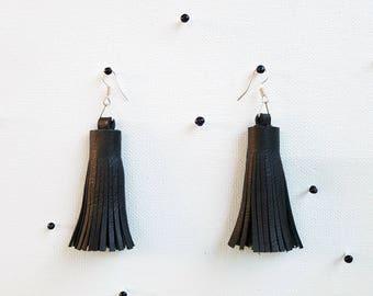 Black Leather Tassel Earrings