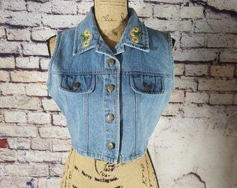 Vintage 90s Crop Denim Vest Embroidered Sunflowers Collar Boho Hipster Medium