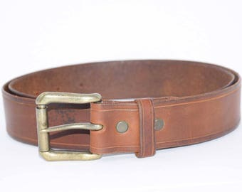 Mens Brown Aged Leather Belt