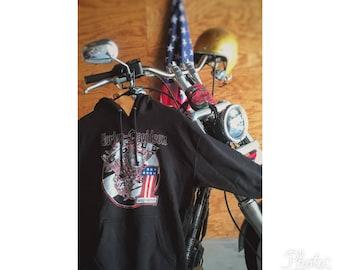 Black Harley Davidson motor hoodie men's size medium