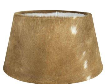 Cowhide Lampshade: fur lamp shade diameter 40-45 cm, 100% real fur brown-white