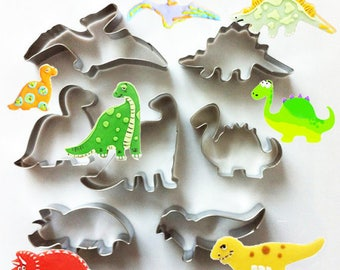 Set of 7pcs Dinosaur Cookie Cutter- Fondant Biscuit Mold - Pastry Baking Tool Set