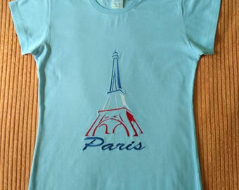 Embroidered-Eiffel Tower-Womens Shirt-Cotton 100%-In Small, Medium, Large, XL