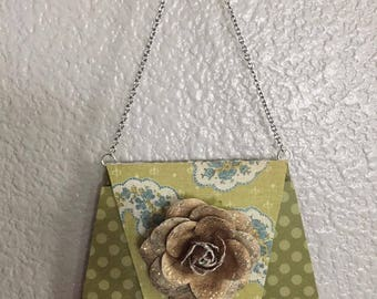 Paper Purse Light Green Polka Dots with Glittery Paper Rose