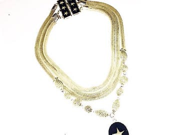 Authentic John-Paul Gaultier Triple Chain Star Pendant Choker