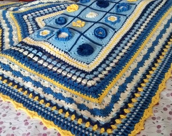 100% hand-knitted cotton blanket (crochet)