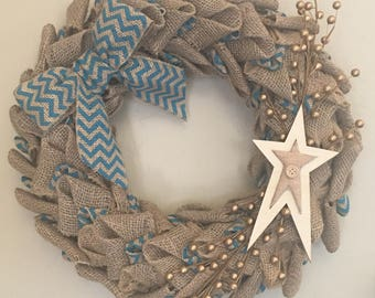 Blue and Burlap Wreath with Star