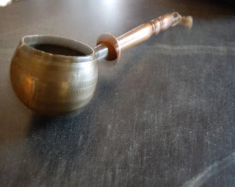 Primitive Late 18th c./Early 19th c. Wood and Pewter Ladle
