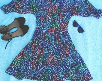 Vintage 80's/90's Button Back Flare Dress