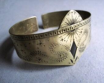 Hand stamped brass cuff bracelet