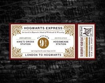 """Printable Harry Potter Hogwarts Express Ticket, 7"""" x 3"""" Generic Printable Hogwarts Express Tickets, Instant Download"""