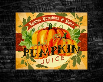 "Harry Potter Pumpkin Juice Large Printable Label, 7.25"" x 5.75"" Pumpkin Juice label, 2-Liter Pumpkin Juice Label, Instant Download"